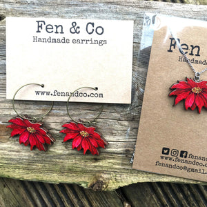 Poinsettia necklace and earrings