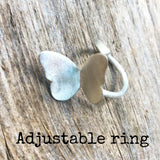 Eco silver butterfly ring