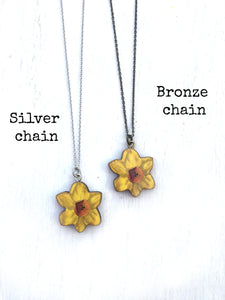 Daffodil earrings and necklace