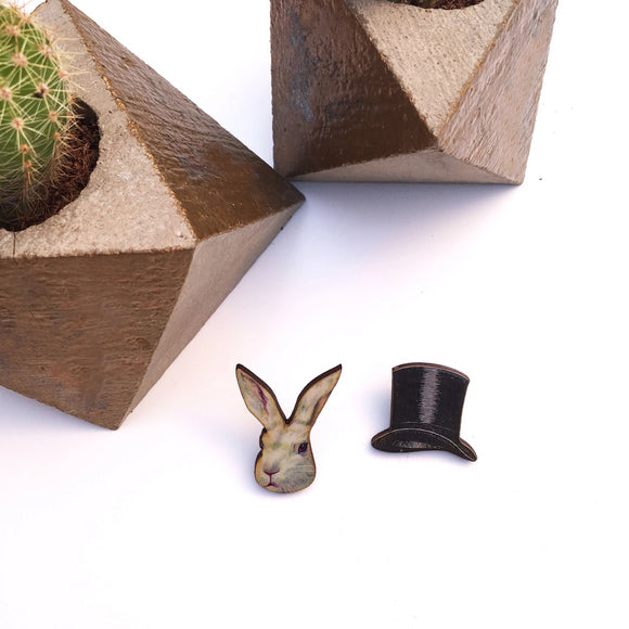 Top hat and rabbit collar pins