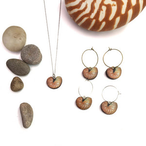 Nautilus necklace and earrings
