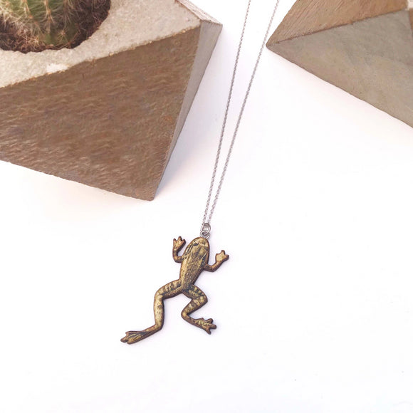 Frog necklace or frog brooch