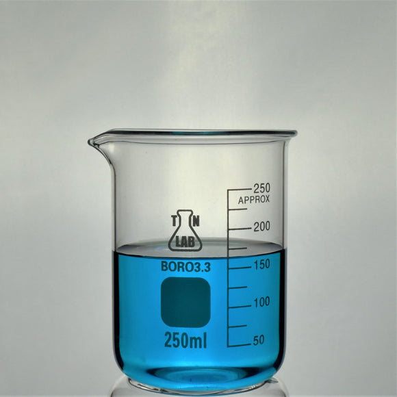 TN LAB Supply Beaker 250ml Borosilicate 3.3 Glass Beaker
