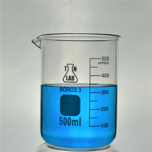 TN LAB Supply Beaker 500ml Borosilicate 3.3 Glass Beaker