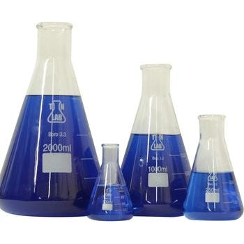 Borosilicate Glass Conical Erlenmeyer Flask Set of 4 (100-250-1000-2000 ml)-Kits-TN Lab Supply