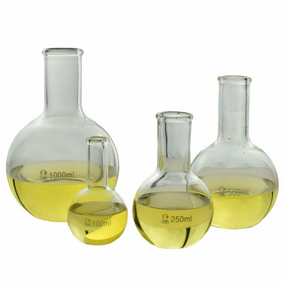 TN LAB Supply Flat Bottom Boiling Flask Borosilicate Glass Set of 4 Flasks