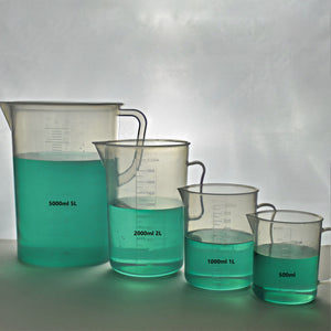 TN LAB Supply Measuring Cup SET of 4 with Handle Polypropylene 500-1000-2000-5000ml