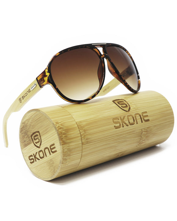 Skone Galapagos Tortoise Shell UV400 Bamboo Sunglasses - Gradient Brown