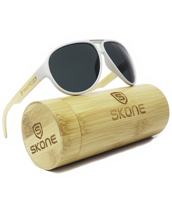 Skone Abacos White UV400 Protection Bamboo Sunglasses - Matt Black