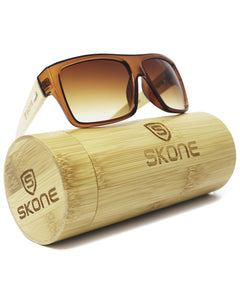 Skone Kaua'i Brown UV400 Protection Bamboo Sunglasses - Gradient Brown