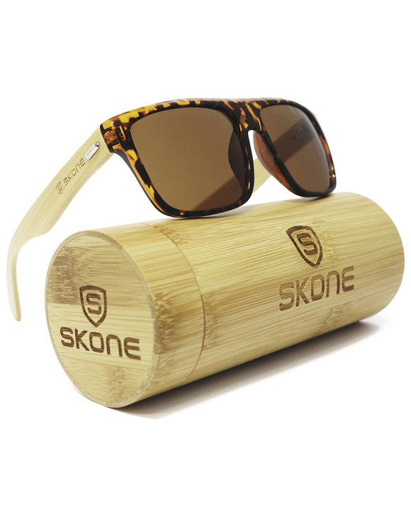 Skone Aitutaki Tortoise Shell UV400 Bamboo Sunglasses - Smokey Brown