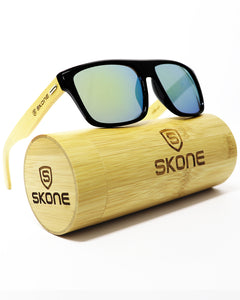 Skone Barbados Black UV400 Protection Bamboo Sunglasses - Blue Mirrored