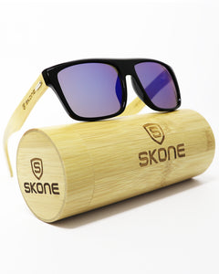 Skone Barbados Black UV400 Protection Bamboo Sunglasses - Purple Mirrored