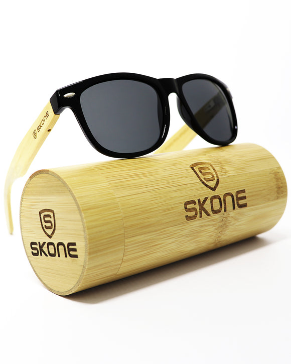Skone La Concha Black UV400 Polarized Bamboo Sunglasses