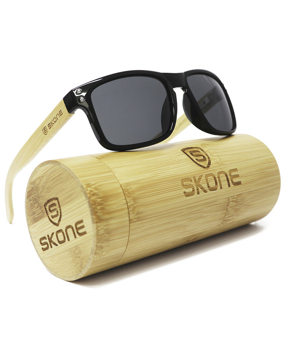 Skone Sahara Black Polarised UV400 Protection Bamboo Sunglasses - Matt Black