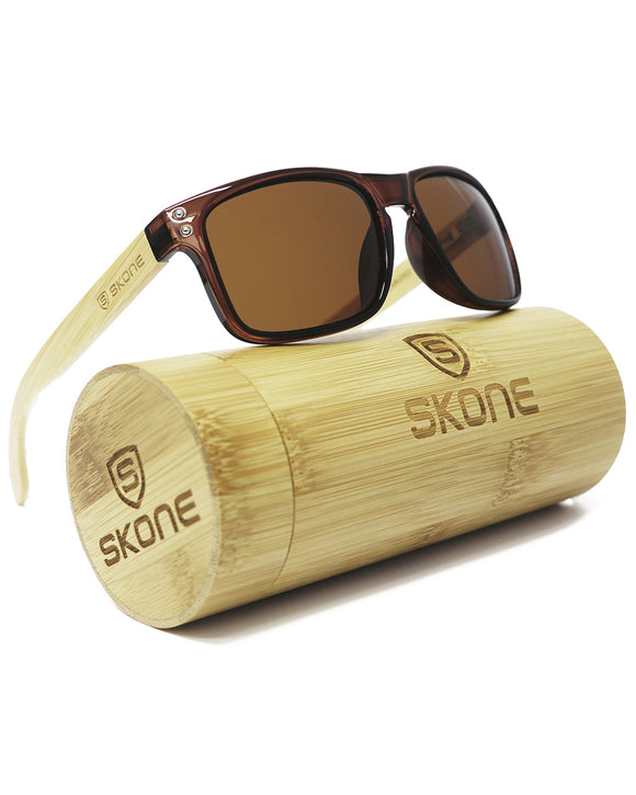 Skone Sahara  Tortoise Shell Polarised UV400 Bamboo Sunglasses - Brown
