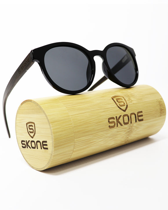 Skone Maundays Round Black UV400 Polarized Walnut Wood Sunglasses