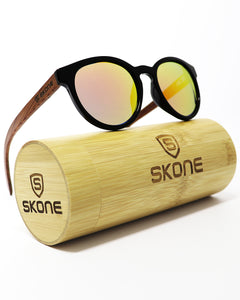 Skone Maundays Round Black UV400 Polarized Rosewood Sunglasses