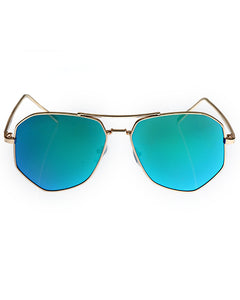 Skone Tropez Aviator Sunglasses - Green Mirrored