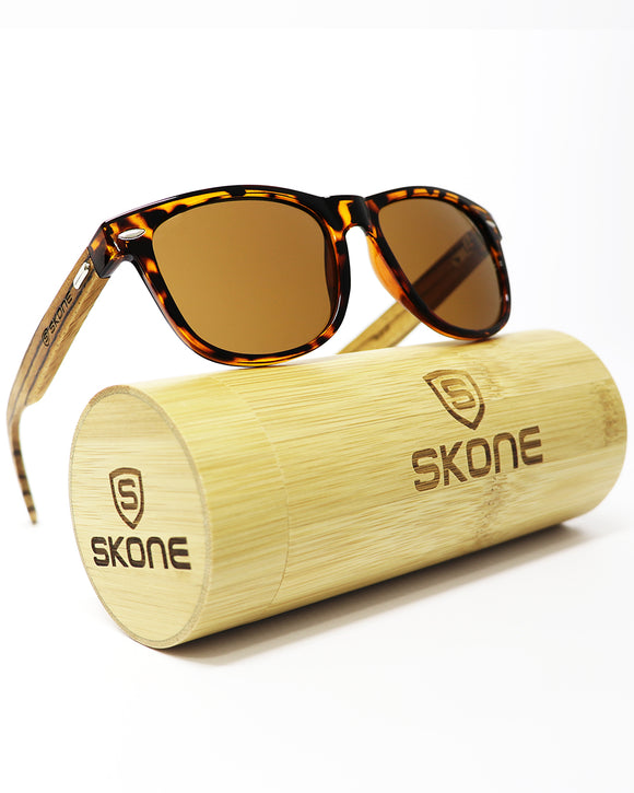 Skone Bazaruto Tortoise Shell UV400 Protection Walnut Wood Sunglasses