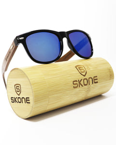Skone Bazaruto Black UV400 Walnut Wood Sunglasses