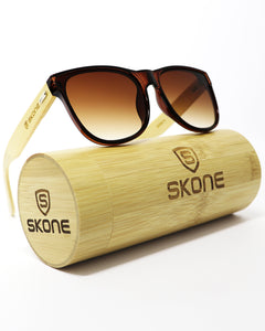 Skone Navagio Brown UV400 Protection Bamboo Sunglasses