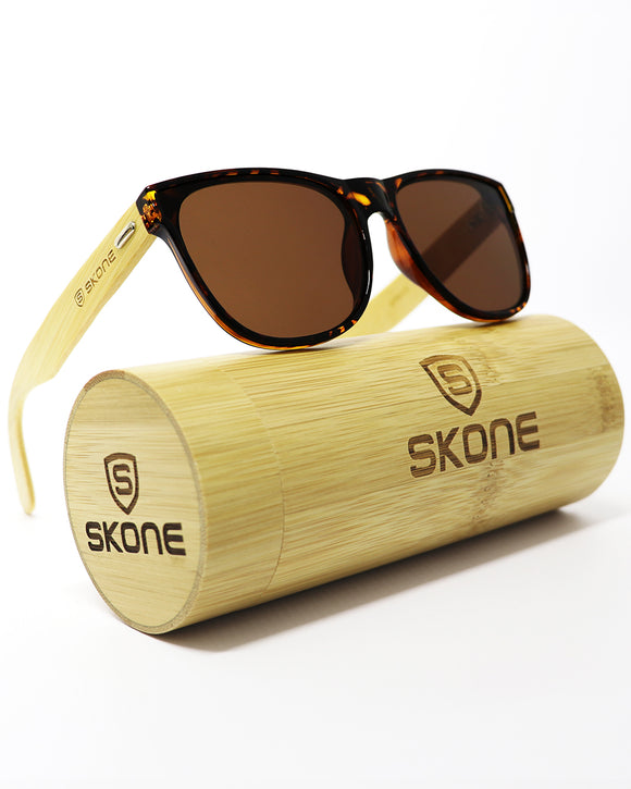Skone Navagio Tortoise Shell UV400 Protection Bamboo Sunglasses