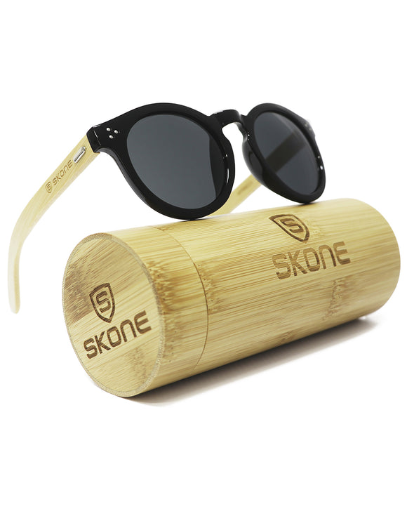 Skone Nicoya Black UV400 Protection Bamboo Sunglasses - Black Lens