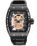 SKONE Kilmarnock Mens Black & Gold Watch - Silicone Strap