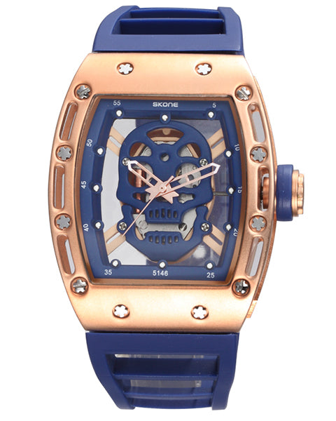 SKONE Kilmarnock Mens Blue and Gold Watch - Silicone Strap