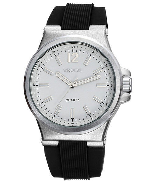 SKONE Bellshill Mens White Watch - Silicone Band