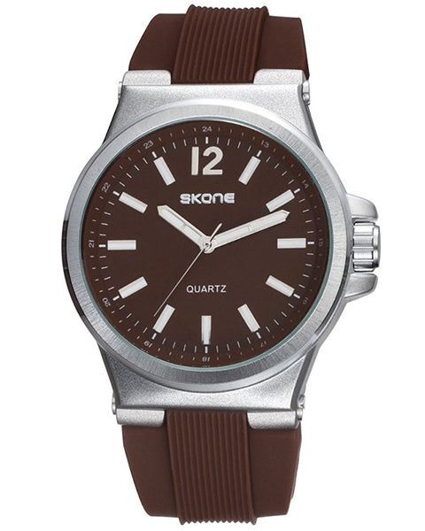 SKONE Bellshill Mens Brown Watch - Silicone Strap