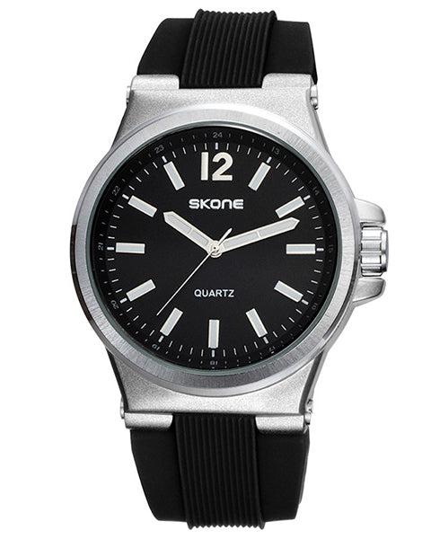 SKONE Bellshill Mens Black Watch - Silicone Strap