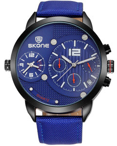 SKONE Broxburn Mens Blue Watch - Canvas Strap