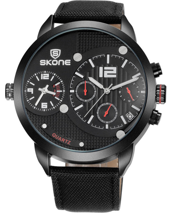 SKONE Broxburn Mens Black Watch - Canvas Strap