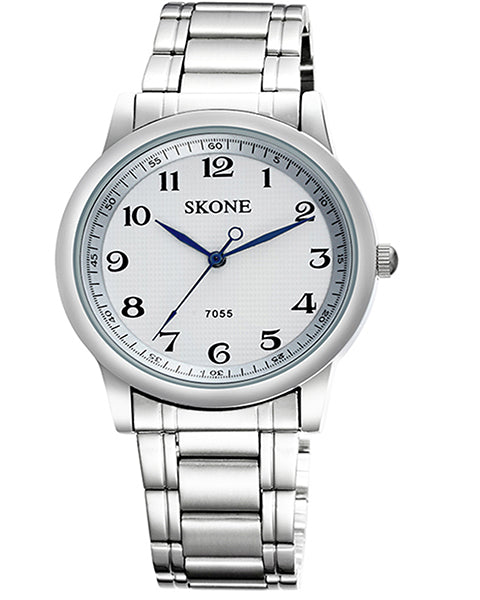 Skone Reading Mens Watch White - Stainless Steel Strap