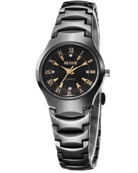 SKONE Newbury Ladies Black & Gold Watch - Black Metal Strap