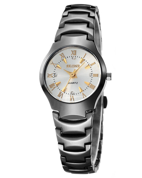 SKONE Newbury Ladies White & Gold Watch - Black Metal strap