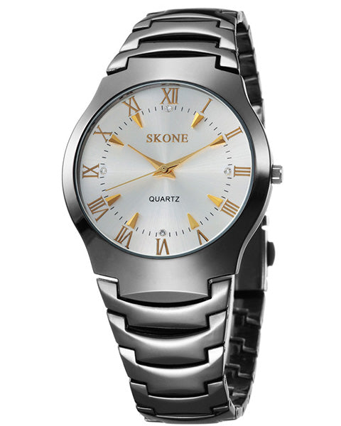 SKONE Newbury Mens White & Gold Watch - Black Metal Strap