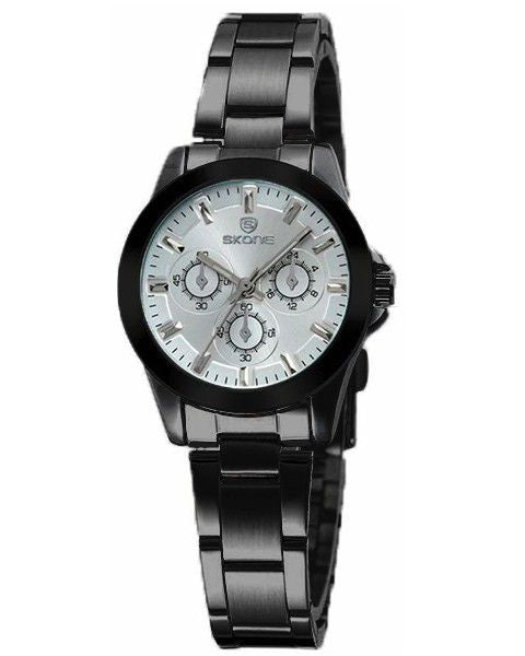 Skone Amersham White Ladies Watch - Black Link Strap