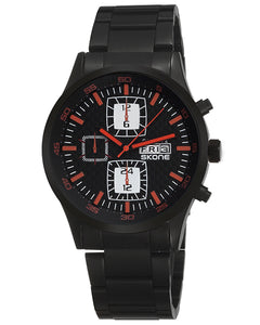 SKONE Clydebank Mens Red Watch - Plated Stainless Steel Strap
