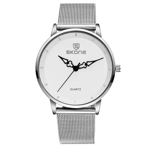 SKONE Oxford Ladies Silver Watch - Steel Chain