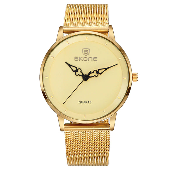 SKONE Oxford Ladies Gold Watch - Steel Mesh Chain