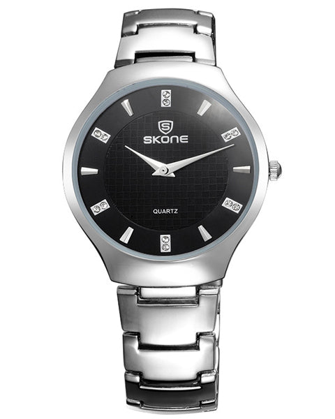 SKONE Duntocher Mens Black Watch - Silver Metal Strap