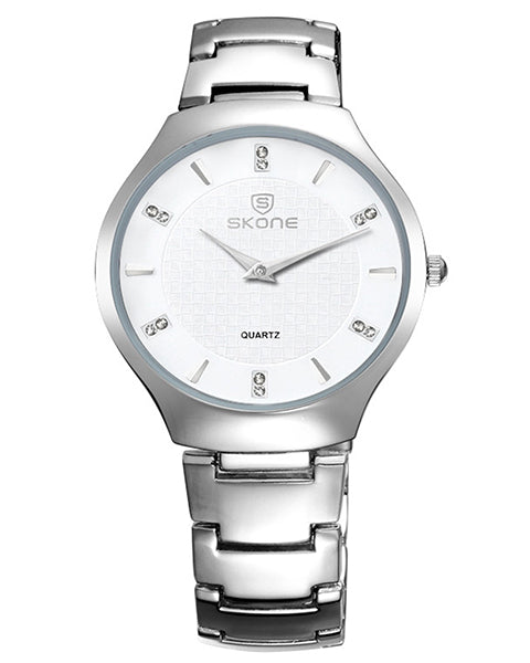 SKONE Duntocher Mens White Watch - Silver Metal Strap