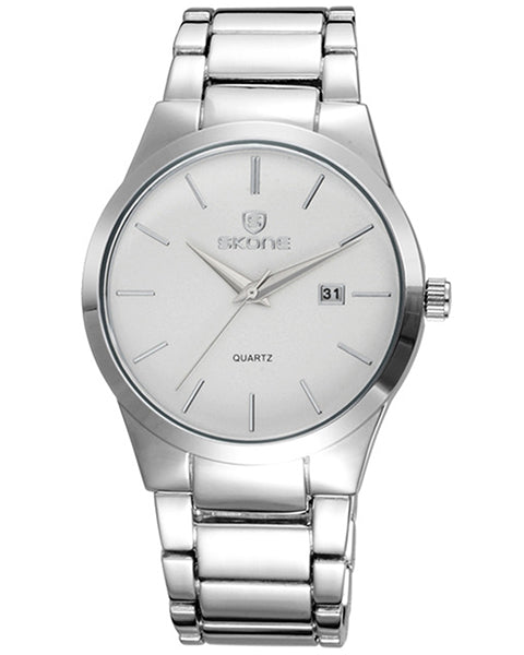 Skone Malmesbury Mens Watch White - Silver Metal Strap