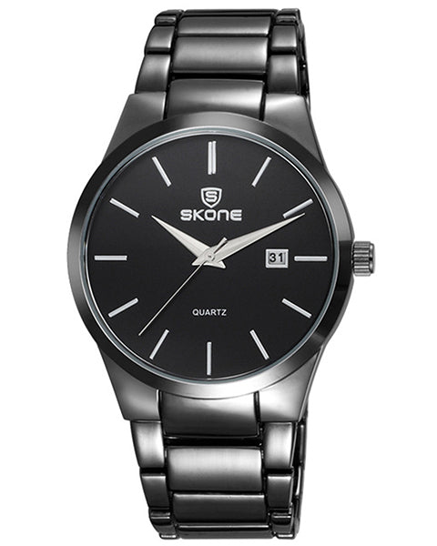 Skone Malmesbury Mens Watch Black - Black Metal Strap