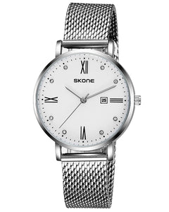 SKONE Fortrose Ladies White Watch - Stainless Steel Mesh Strap