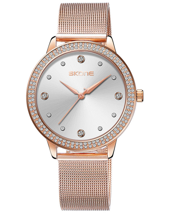 Skone Mattie Diamond Dial Ladies Watch - Rose Gold & Silver
