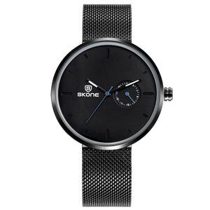 Skone Stirling Black Unisex Watch - Stainless Steel Mesh Strap